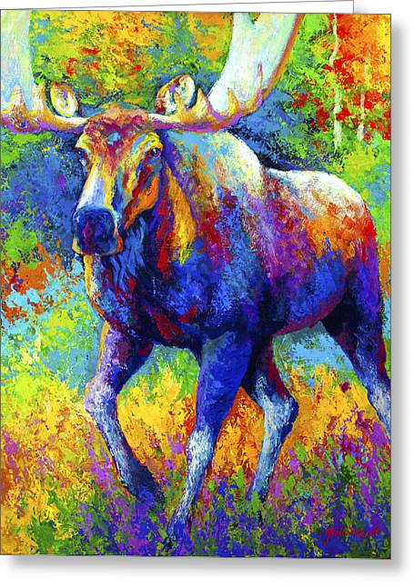 Bull Moose Greeting Cards - The Urge To Merge - Bull Moose Greeting Card by Marion Rose