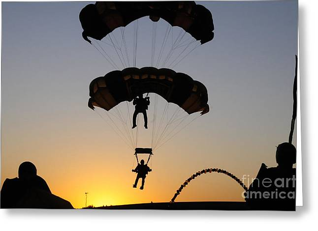 The U.s. Army Golden Knights Perform An Greeting Card by Stocktrek Images