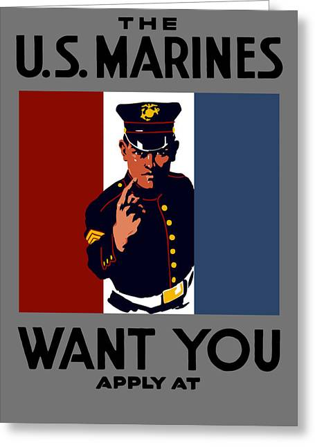 War Propaganda Greeting Cards - The U.S. Marines Want You  Greeting Card by War Is Hell Store