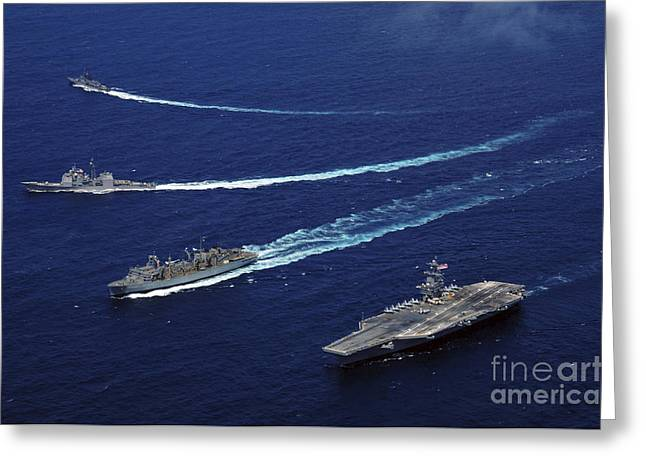 Supercarrier Greeting Cards - The Uss Bunker Hill, The Usns Rainier Greeting Card by Stocktrek Images