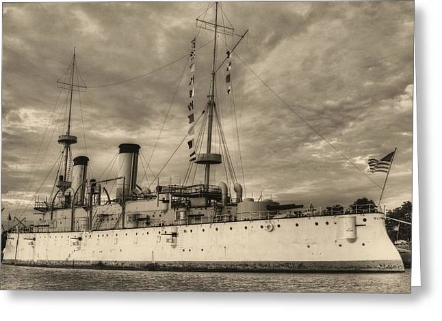 The USS Olympia Black and White Greeting Card by JC Findley