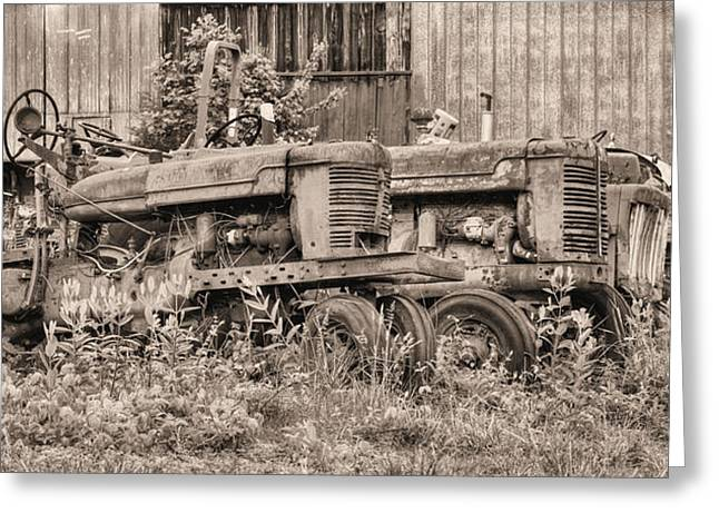 International Tractor Greeting Cards - The Usual Suspects BW Greeting Card by JC Findley