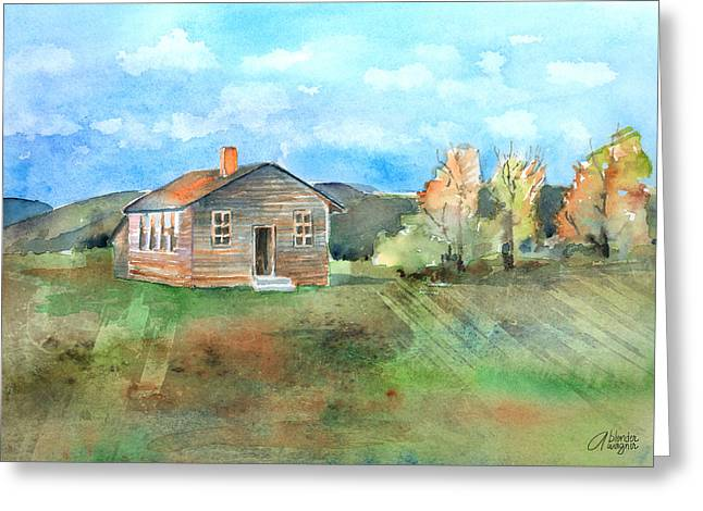 School Houses Paintings Greeting Cards - The Vacant Schoolhouse Greeting Card by Arline Wagner