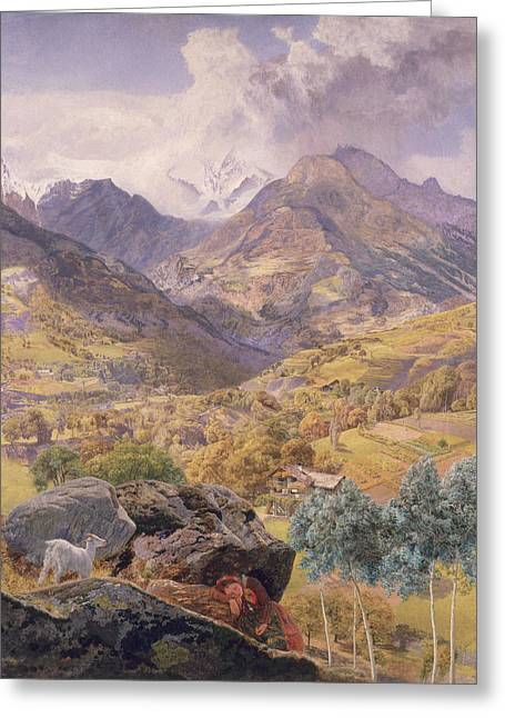 Mountain Valley Greeting Cards - The Val dAosta Greeting Card by John Brett
