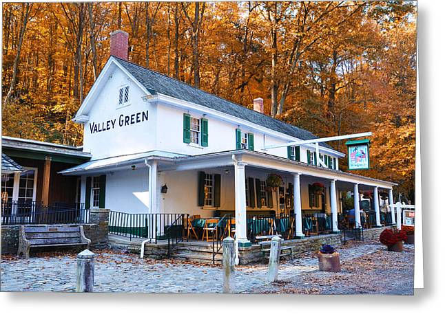 Color Green Greeting Cards - The Valley Green Inn in Autumn Greeting Card by Bill Cannon