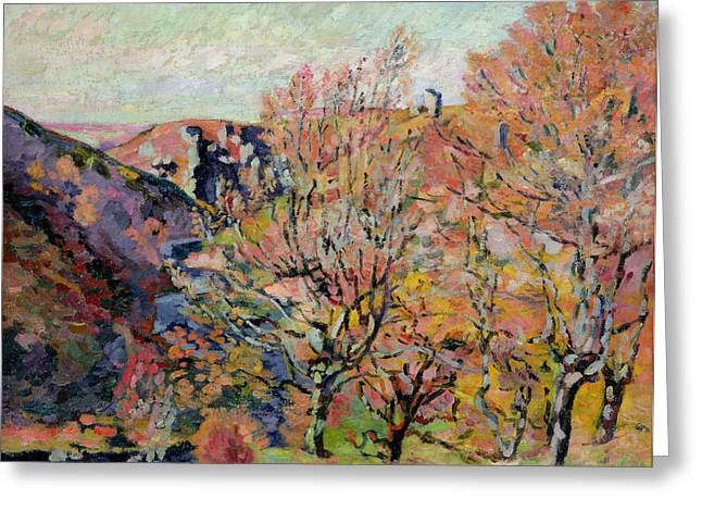 Leaf Change Greeting Cards - The Valley of the Sedelle in Crozant Greeting Card by Jean Baptiste Armand Guillaumin