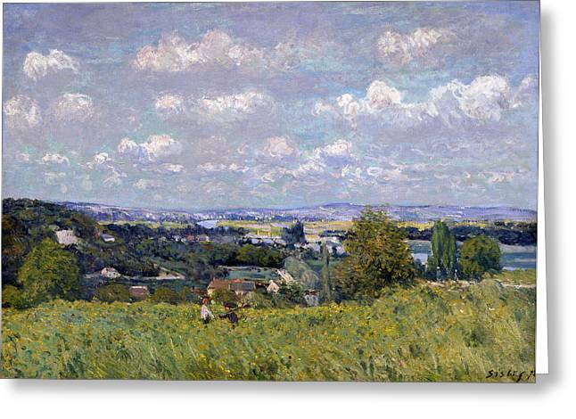 The Trees Greeting Cards - The Valley of the Seine at Saint Cloud Greeting Card by Alfred Sisley