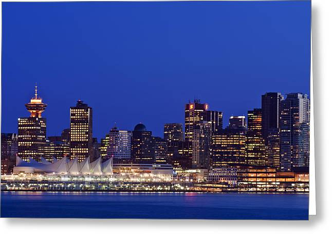 Man Made Space Greeting Cards - The Vancouver Skyline At Twilight Or Greeting Card by Rob Tilley