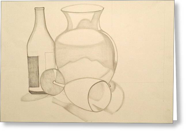 Graphite Greeting Cards - The Vase and Wine Bottle Greeting Card by Teri Schuster