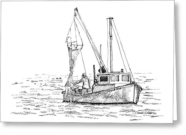 Fishing Boats Drawings Greeting Cards - The Vessel Little Jim Greeting Card by Dominic White