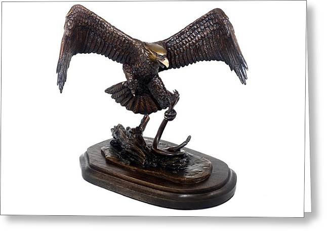 Eagle Sculptures Greeting Cards - The Victor Greeting Card by Elzubair Elzein