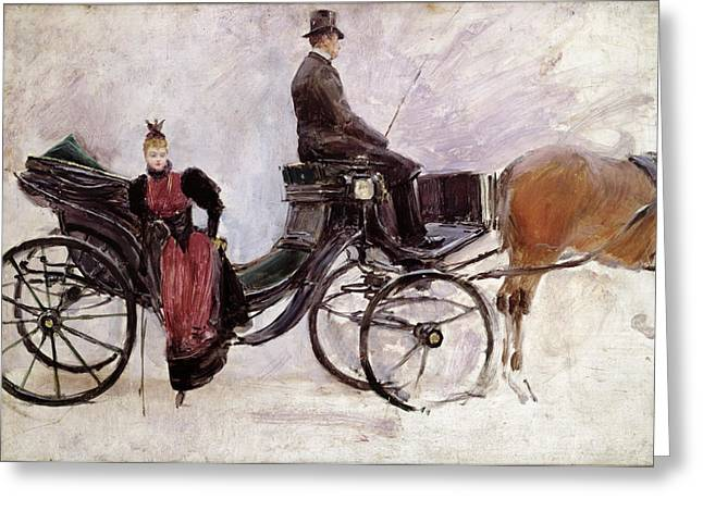 Winter Travel Paintings Greeting Cards - The Victoria Greeting Card by Jean Beraud