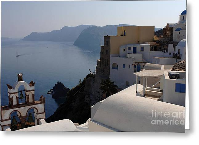 On The Edge Greeting Cards - The View At Fira Greeting Card by Bob Christopher