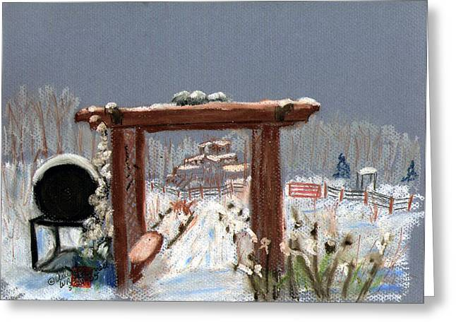 Arch Pastels Greeting Cards - The View Down to Freds House Greeting Card by Arlene  Wright-Correll