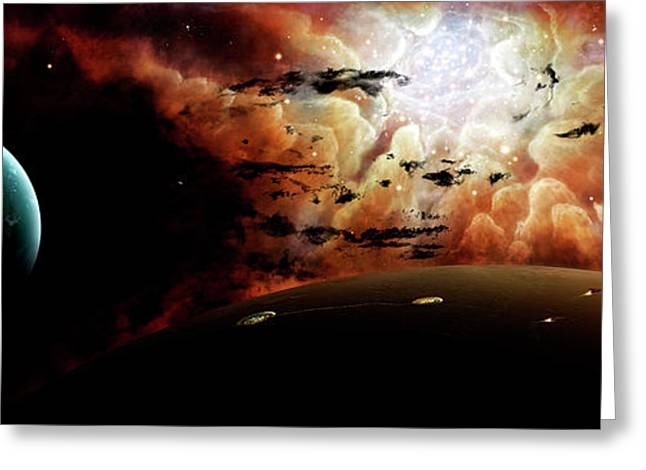 Colorful Cloud Formations Digital Greeting Cards - The View From A Busy Planetary System Greeting Card by Brian Christensen