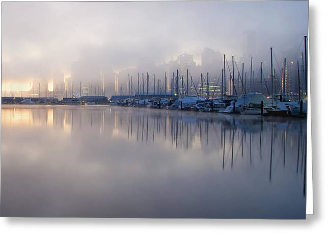 Sailboat Images Greeting Cards - The View From Stanley Park. Early Greeting Card by Marlene Ford