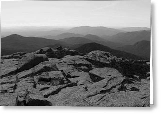 Sixers Greeting Cards - The View North from Mt. Marcy Black and White Three Greeting Card by Joshua House
