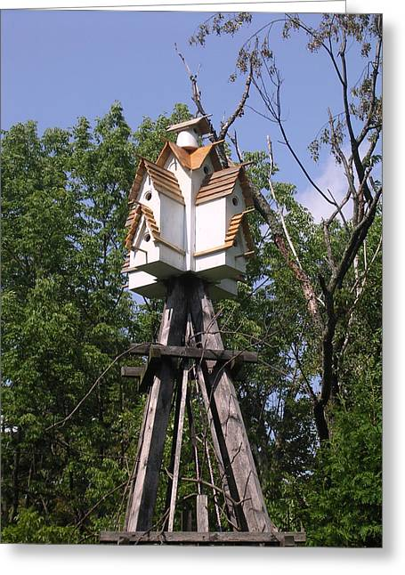 Bird House Sculptures Greeting Cards - The Village Greeting Card by Gordon Wendling
