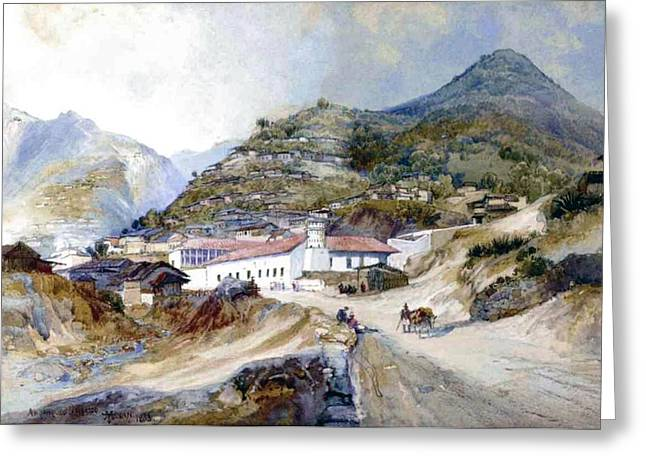 Farm Towns Greeting Cards - The Village of Angangueo Greeting Card by Thomas Moran