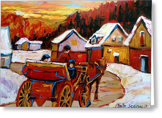 Montreal Streets In Winter Greeting Cards - The Village Of Saint Jerome Greeting Card by Carole Spandau