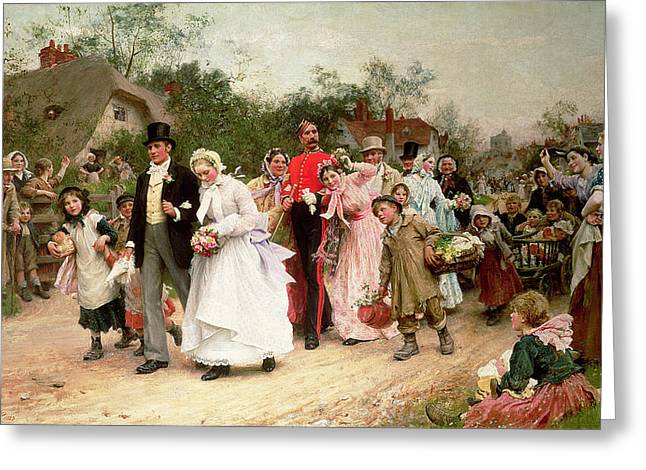 Lane Greeting Cards - The Village Wedding Greeting Card by Sir Samuel Luke Fildes