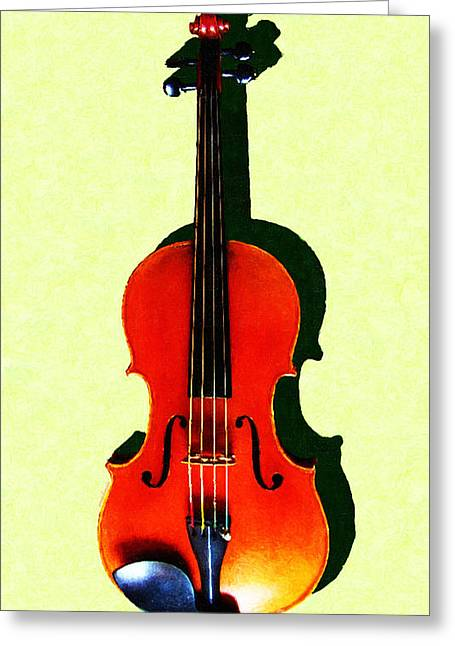 Wood Instruments Greeting Cards - The Violin . Light Version . Painterly Greeting Card by Wingsdomain Art and Photography