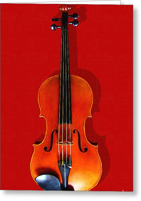 Wood Instruments Greeting Cards - The Violin . Red Version . Painterly Greeting Card by Wingsdomain Art and Photography