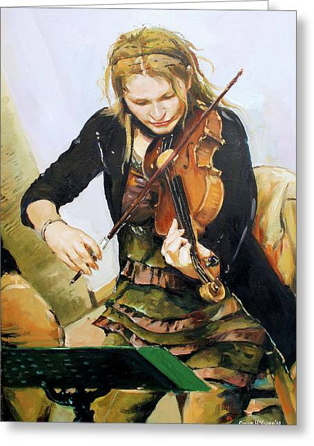 Black Jacket Greeting Cards - The Violinist Greeting Card by Conor McGuire