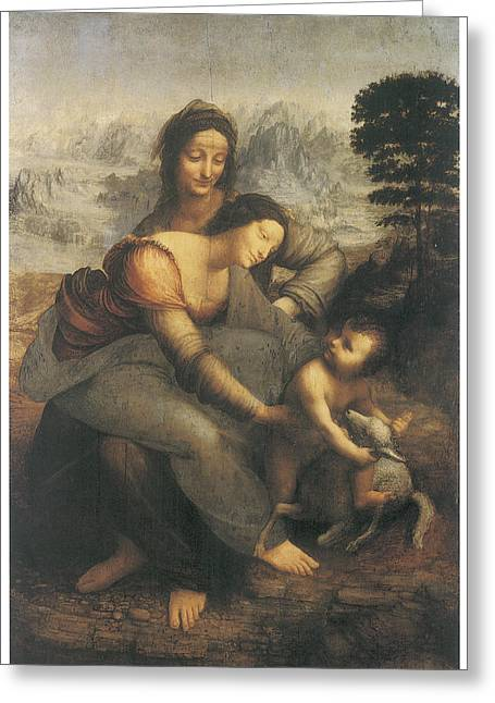 The Virgin And Child With Saint Anne Greeting Card by Leonardo Da Vinci