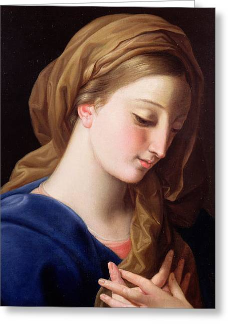 Folds Greeting Cards - The Virgin Annunciate Greeting Card by  Pompeo Girolamo Batoni