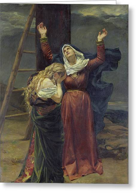 St Mary Magdalene Paintings Greeting Cards - The Virgin at the Foot of the Cross Greeting Card by Jean Joseph Weerts