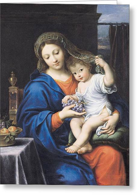 Bowls Greeting Cards - The Virgin of the Grapes Greeting Card by Pierre Mignard