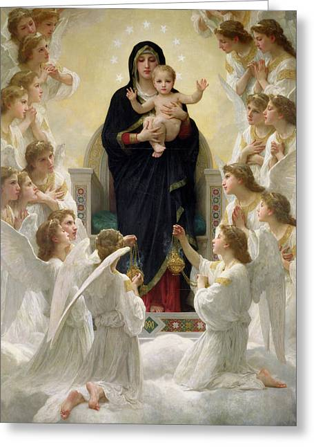 Virgin Paintings Greeting Cards - The Virgin with Angels Greeting Card by William-Adolphe Bouguereau