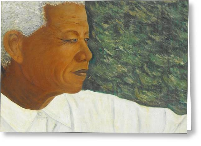 Slavery Paintings Greeting Cards - The Visionary - Nelson Mandela Greeting Card by Jeanne Silver