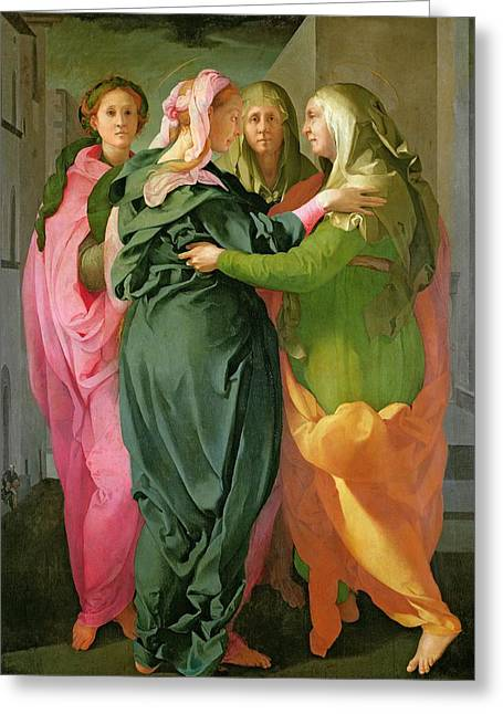 Virgin Greeting Cards - The Visitation Greeting Card by Jacopo Pontormo
