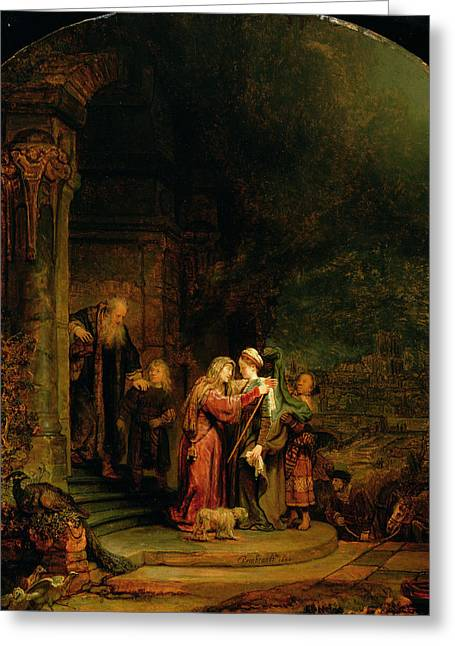 New Testament Paintings Greeting Cards - The Visitation Greeting Card by  Rembrandt Harmensz van Rijn