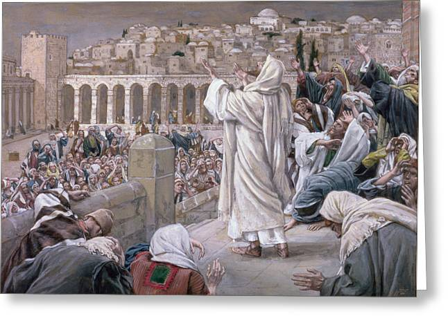 Jerusalem Paintings Greeting Cards - The Voice from Heaven Greeting Card by Tissot