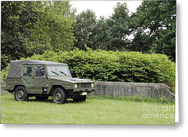 The Vw Iltis Jeep Used By The Belgian Greeting Card by Luc De Jaeger