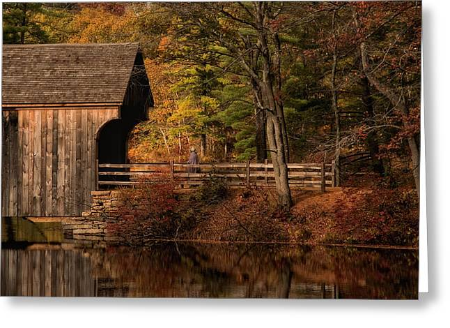 Covered Bridge Greeting Cards - The Walk Home Greeting Card by Robin-lee Vieira