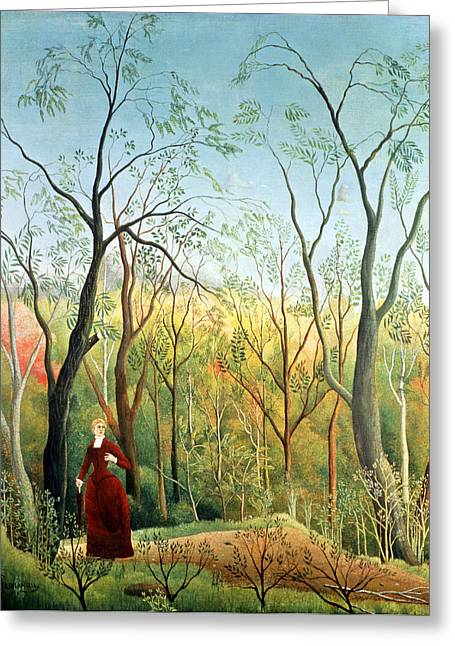 Garden Scene Greeting Cards - The Walk in the Forest Greeting Card by Henri Rousseau