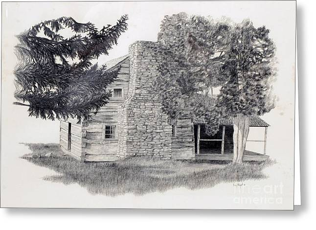 Mountain Cabin Drawings Greeting Cards - The Walker Sisters Cabin Greeting Card by Nancy Hilgert