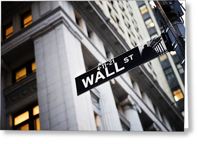 Signed Photographs Greeting Cards - The Wall Street Street Sign Greeting Card by Justin Guariglia