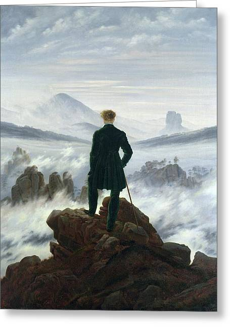 Austria Paintings Greeting Cards - The Wanderer above the Sea of Fog Greeting Card by Caspar David Friedrich