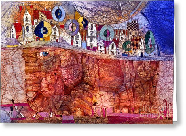 The Wandering Elephant Greeting Card by Svetlana and Sabir Gadghievs