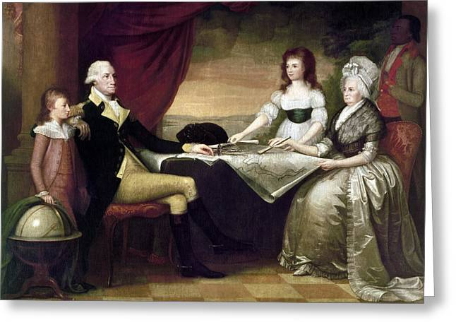 First-lady Greeting Cards - The Washington Family Greeting Card by Granger