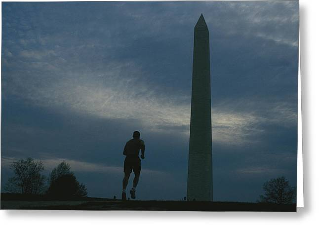 Jogging Greeting Cards - The Washington Monument Looms Greeting Card by Joel Sartore