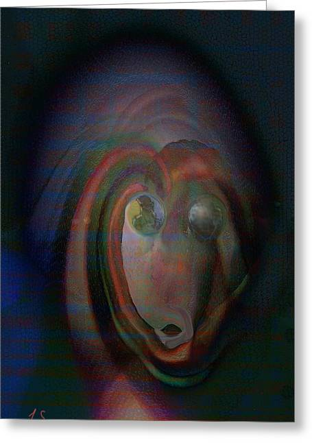 Abstract Expression Greeting Cards - The Watcher Greeting Card by Linda Sannuti