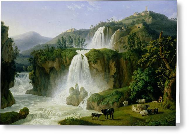 The Trees Greeting Cards - The Waterfall at Tivoli Greeting Card by Jacob Philippe Hackert