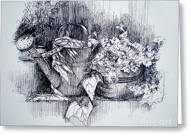 Ledge Drawings Greeting Cards - The Watering Can Greeting Card by Dominique Eichi