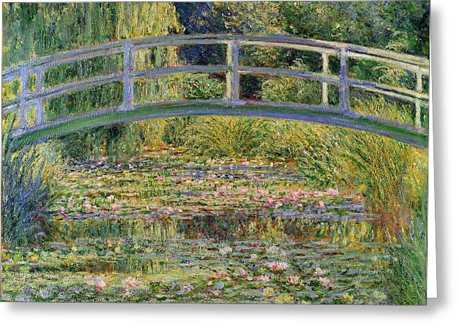 Pond Paintings Greeting Cards - The Waterlily Pond with the Japanese Bridge Greeting Card by Claude Monet
